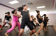 Stevie-Anne Bertram, age 11, in center, and other students at the Diva Arts Dance Academy practice on Saturday, June 5, 2010, for their upcoming show, Tribute, a Dedication to a Decade, highlighting historical events from the past 10 years through their dance.