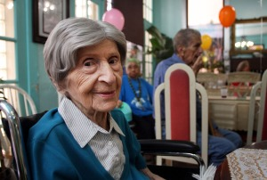 "-- 9/4/09 - Allison Diaz / For the Miami Herald -- Mary Cooney, on left, celebrates her 101st birthday at the Hebrew Home of South Beach Assisted Living Facility. Cooney, a Pennsylvania native, retired to South Beach in 1973 after 28 years of working for a telephone company in New Jersey. ""I don't miss the snow and ice at all. I love the weather here,"" said Cooney. (South Beach, 3 of 3)"
